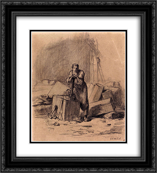 A stonemason 20x22 Black or Gold Ornate Framed and Double Matted Art Print by Jean Francois Millet