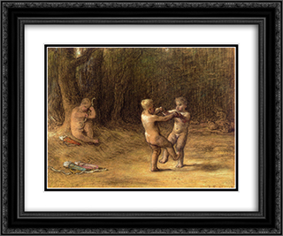 Amour's dance 24x20 Black or Gold Ornate Framed and Double Matted Art Print by Jean Francois Millet