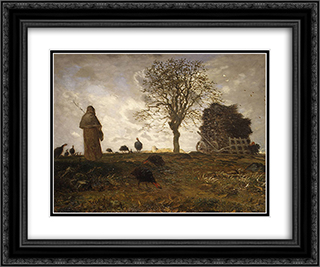 Autumn landscape with a flock of Turkeys 24x20 Black or Gold Ornate Framed and Double Matted Art Print by Jean Francois Millet