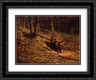 Brushwood collectors 24x20 Black or Gold Ornate Framed and Double Matted Art Print by Jean Francois Millet