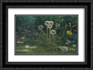 Dandelions 24x18 Black or Gold Ornate Framed and Double Matted Art Print by Jean Francois Millet