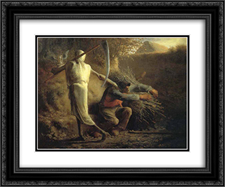 Death and the woodcutter 24x20 Black or Gold Ornate Framed and Double Matted Art Print by Jean Francois Millet