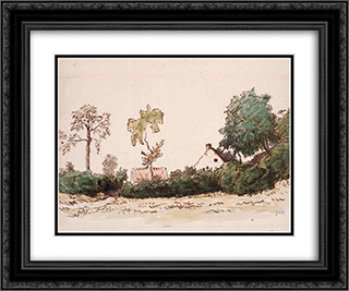 Farm near Vichy 24x20 Black or Gold Ornate Framed and Double Matted Art Print by Jean Francois Millet
