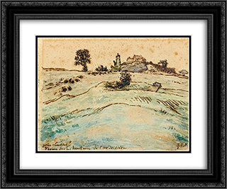 Farm on the hills of the Ardoisiere near Cusset 24x20 Black or Gold Ornate Framed and Double Matted Art Print by Jean Francois Millet