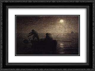 Fishermen 24x18 Black or Gold Ornate Framed and Double Matted Art Print by Jean Francois Millet