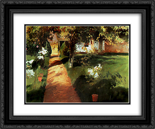 Garden 24x20 Black or Gold Ornate Framed and Double Matted Art Print by Jean Francois Millet