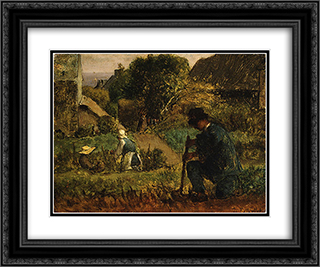 Garden Scene 24x20 Black or Gold Ornate Framed and Double Matted Art Print by Jean Francois Millet