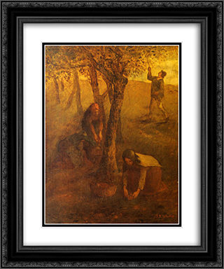 Gathering Apples 20x24 Black or Gold Ornate Framed and Double Matted Art Print by Jean Francois Millet