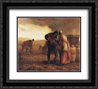 Harvesting potatoes 22x20 Black or Gold Ornate Framed and Double Matted Art Print by Jean Francois Millet