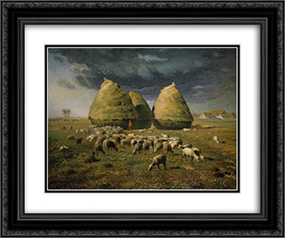 Haystacks Autumn 24x20 Black or Gold Ornate Framed and Double Matted Art Print by Jean Francois Millet