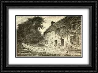 House birthplace Millet 24x18 Black or Gold Ornate Framed and Double Matted Art Print by Jean Francois Millet