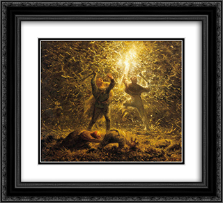Hunting Birds at Night 22x20 Black or Gold Ornate Framed and Double Matted Art Print by Jean Francois Millet