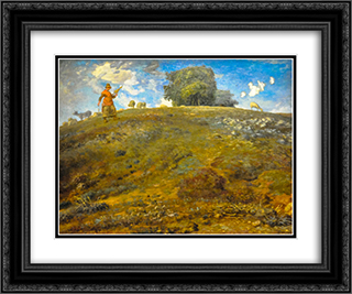 In the Auvergne 24x20 Black or Gold Ornate Framed and Double Matted Art Print by Jean Francois Millet