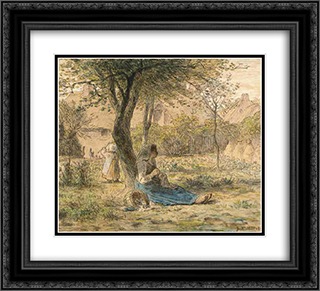 In the garden 22x20 Black or Gold Ornate Framed and Double Matted Art Print by Jean Francois Millet