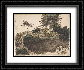 Landscape, Vichy 24x20 Black or Gold Ornate Framed and Double Matted Art Print by Jean Francois Millet
