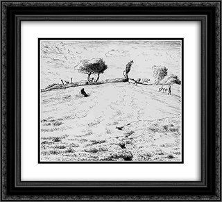 Landscape Hillside in Gruchy 22x20 Black or Gold Ornate Framed and Double Matted Art Print by Jean Francois Millet