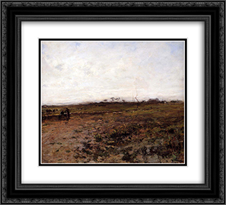 Landscape with Two Peasant Women 22x20 Black or Gold Ornate Framed and Double Matted Art Print by Jean Francois Millet