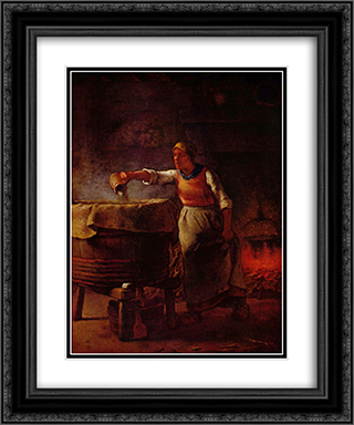 Laundress 20x24 Black or Gold Ornate Framed and Double Matted Art Print by Jean Francois Millet