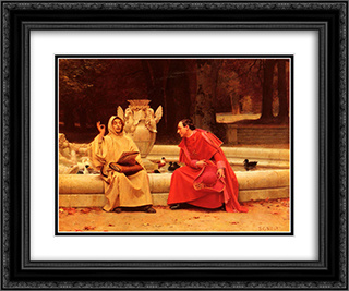 A Fine Point 24x20 Black or Gold Ornate Framed and Double Matted Art Print by Jehan Georges Vibert
