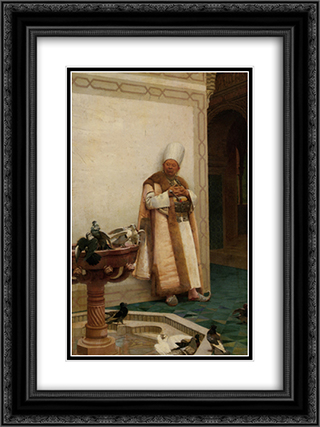 A Grand White Enuch Watching Doves 18x24 Black or Gold Ornate Framed and Double Matted Art Print by Jehan Georges Vibert