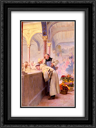 A scandal 18x24 Black or Gold Ornate Framed and Double Matted Art Print by Jehan Georges Vibert