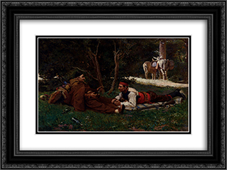 An Afternoon Libation 24x18 Black or Gold Ornate Framed and Double Matted Art Print by Jehan Georges Vibert