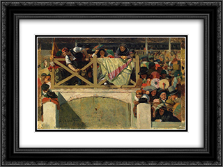 At the Corrida 24x18 Black or Gold Ornate Framed and Double Matted Art Print by Jehan Georges Vibert