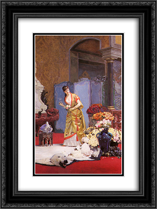 Autumn Flowers 18x24 Black or Gold Ornate Framed and Double Matted Art Print by Jehan Georges Vibert