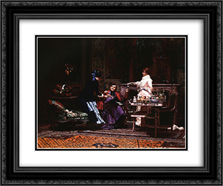 Bishop visits 24x20 Black or Gold Ornate Framed and Double Matted Art Print by Jehan Georges Vibert