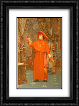 Cardinal, Reading a Letter 18x24 Black or Gold Ornate Framed and Double Matted Art Print by Jehan Georges Vibert