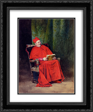 Reading Rabelais 20x24 Black or Gold Ornate Framed and Double Matted Art Print by Jehan Georges Vibert