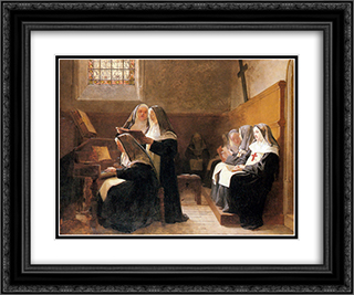 The Convent Choir 24x20 Black or Gold Ornate Framed and Double Matted Art Print by Jehan Georges Vibert