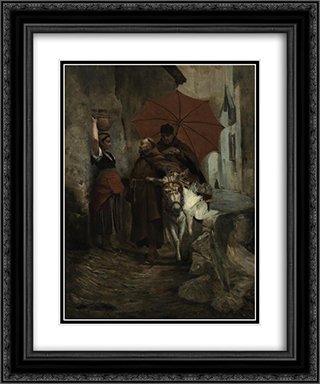 The Distraction 20x24 Black or Gold Ornate Framed and Double Matted Art Print by Jehan Georges Vibert