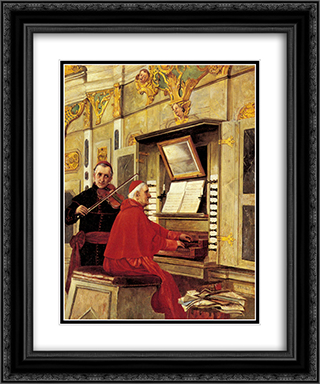The Duet 20x24 Black or Gold Ornate Framed and Double Matted Art Print by Jehan Georges Vibert