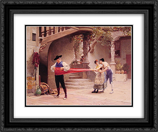 The Final Touch 24x20 Black or Gold Ornate Framed and Double Matted Art Print by Jehan Georges Vibert