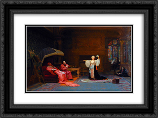 The Fortune Teller 24x18 Black or Gold Ornate Framed and Double Matted Art Print by Jehan Georges Vibert
