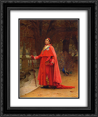 The Preening Peacock 20x24 Black or Gold Ornate Framed and Double Matted Art Print by Jehan Georges Vibert