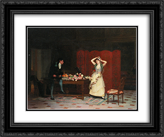The primers 24x20 Black or Gold Ornate Framed and Double Matted Art Print by Jehan Georges Vibert