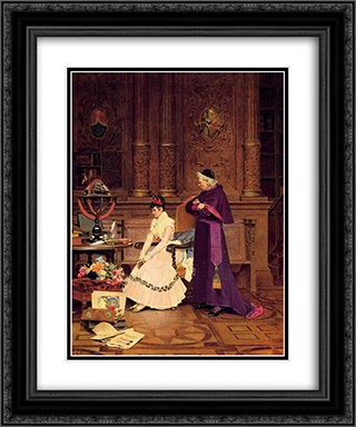 The Reprimand 20x24 Black or Gold Ornate Framed and Double Matted Art Print by Jehan Georges Vibert