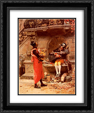 The Serenade 20x24 Black or Gold Ornate Framed and Double Matted Art Print by Jehan Georges Vibert