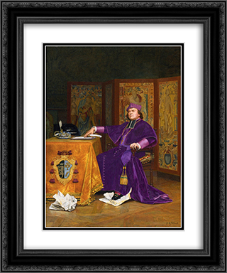 The Wrath of the Bishop 20x24 Black or Gold Ornate Framed and Double Matted Art Print by Jehan Georges Vibert