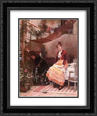 Why he does not come 20x24 Black or Gold Ornate Framed and Double Matted Art Print by Jehan Georges Vibert