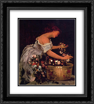 Young Girl Arranging Flowers 20x22 Black or Gold Ornate Framed and Double Matted Art Print by Jehan Georges Vibert