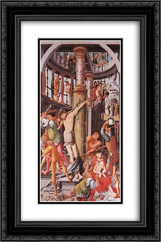 Flagellation of Christ 16x24 Black or Gold Ornate Framed and Double Matted Art Print by Jerg Ratgeb
