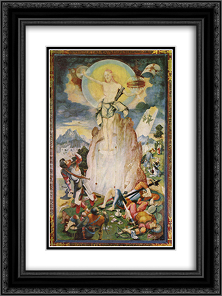 Resurrection of Christ 18x24 Black or Gold Ornate Framed and Double Matted Art Print by Jerg Ratgeb
