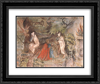 Scenes from the Life of Prophet Elijah 24x20 Black or Gold Ornate Framed and Double Matted Art Print by Jerg Ratgeb