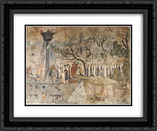 The Carmelites and King St. Louis in 1248 24x20 Black or Gold Ornate Framed and Double Matted Art Print by Jerg Ratgeb