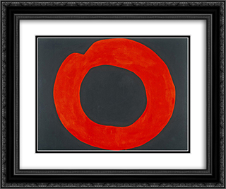 Red Circle on Black 24x20 Black or Gold Ornate Framed and Double Matted Art Print by Jiro Yoshihara