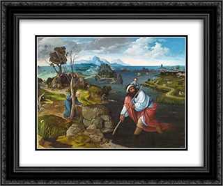 Landscape with St. Christopher 24x20 Black or Gold Ornate Framed and Double Matted Art Print by Joachim Patinir