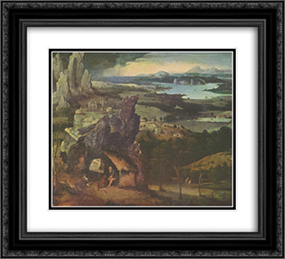 Landscape with St. Jerome 22x20 Black or Gold Ornate Framed and Double Matted Art Print by Joachim Patinir
